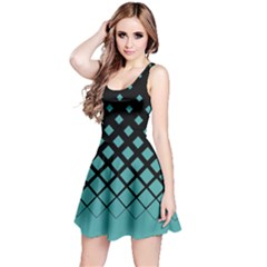 Dark Mint Gradient Rhombuses Reversible Sleeveless Dress by CoolDesigns