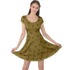 Brown Pattern Of The Bee On Honeycombs Cap Sleeve Dress  by CoolDesigns