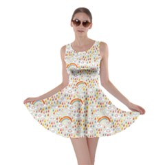 Colorful Clouds Rainbows Rain Drops Pattern Skater Dress by cowcowclothing