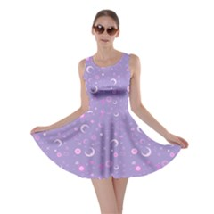 Lavender Fun Night Sky the Moon and Stars Skater Dress by CoolDesigns