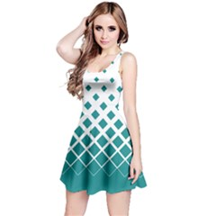 Mint Gradient With Black Rhombuses Sleeveless Skater Dress by CoolDesigns