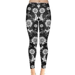 Black & White2 Floral Leggings  by CoolDesigns