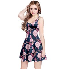Navy Vintage Roses Pattern Sleeveless Skater Dress  by CoolDesigns