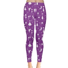 Purple Cute White Cats Pattern Leggings by CoolDesigns