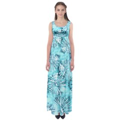 Aqua Tie Dye Empire Waist Maxi Dress by CoolDesigns