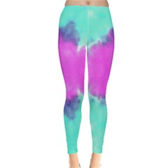 Aqua & Pink Tie Dye Leggings by CoolDesigns