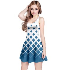 Blue Gradient With Black Rhombuses Sleeveless Skater Dress by CoolDesigns