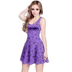 Purple Glasses Retro Sunglasses Sleeveless Skater Dress by CoolDesigns