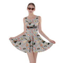 Gray Japanese Food Sushi Pattern Skater Dress  by CoolDesigns