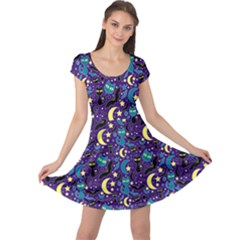 Blue Cute Pattern Night Life Cats And Bats Cap Sleeve Dress by CoolDesigns