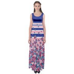Blue Stripes Empire Waist Maxi Dress by CoolDesigns