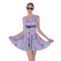 Blue Lollipop Candy Macaroon Cupcake Donut Skater Dress by CoolDesigns