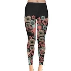Dark Green Floral Leggings by CoolDesigns