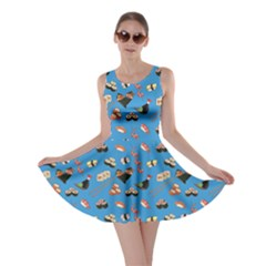 Sky Blue Japanese Food Sushi Pattern Skater Dress by CoolDesigns