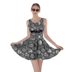 Gray Yummy Colorful Sweet Lollipop Candy Macaroon Cupcake Donut Seamless Skater Dress  by CoolDesigns