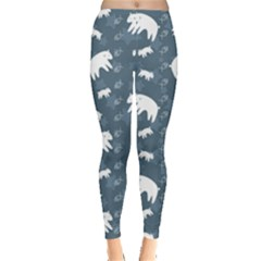 Blue Polar Bears Family On Night Sky Pattern Women s Leggings by CoolDesigns
