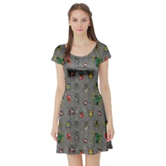 Gray Short Sleeve Skater Dress by CoolDesigns
