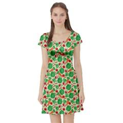 Beige Vegetable Pattern Short Sleeve Skater Dress  by CoolDesigns