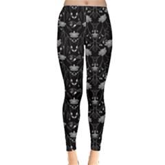 Black Floral Leggings  by CoolDesigns