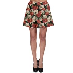 Brown Skull And Flowers Day Of The Dead Vintage Skater Dress by CoolDesigns