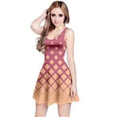 Salmon Berry Gradient Rhombuses Reversible Sleeveless Dress by CoolDesigns