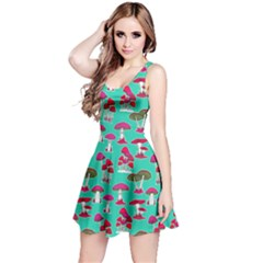 Mint Mushrooms Pattern Sleeveless Dress  by CoolDesigns