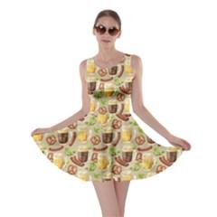 Colorful Glass Mugs Lager Dark Beer Hop Pretzel Sausage Pattern Skater Dress by CoolDesigns