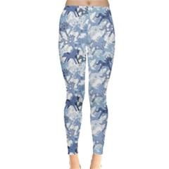 Blue Pattern Horses Leggings by CoolDesigns