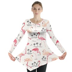 Colorful Flamingo Bird Pattern Long Sleeve Tunic Top by CoolDesigns