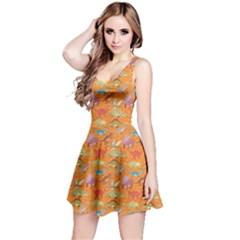 Orange Dinosaur Stylish Pattern Skater Dress by CoolDesigns