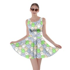 Green Gray Kawaii Cute Ghosts Skater Dress by cowcowclothing