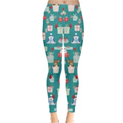 Turquoise Present Leggings  by CoolDesigns