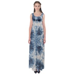 Dull Blue Tie Dye Empire Waist Maxi Dress by CoolDesigns