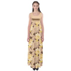Yellow Roses Empire Waist Maxi Dress by CoolDesigns