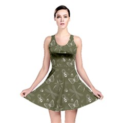 Olive Insect Pattern Reversible Skater Dress  by CoolDesigns