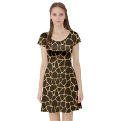 Brown A Brown And Yellow Giraffe Spotted Repeatable Short Sleeve Skater Dress by CoolDesigns