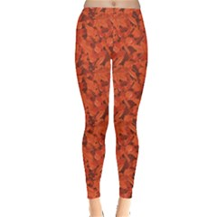 Orange Miscellaneous Rich Orange Fall Leaves Pattern Leggings by CoolDesigns