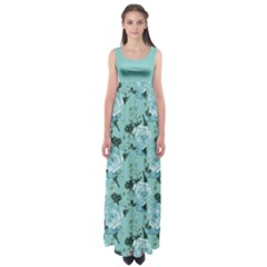 Mint Roses Empire Waist Maxi Dress by CoolDesigns