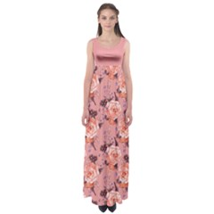 Coral Roses Empire Waist Maxi Dress by CoolDesigns