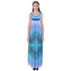 Aqua Tie Dye 2 Empire Waist Maxi Dress by CoolDesigns