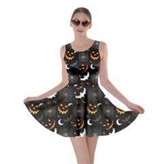Black Halloween Horror Symbols Pattern Available Skater Dress by CoolDesigns