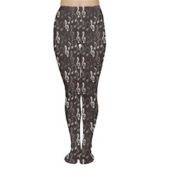 Black Pattern With Music Notes Treble Clef Women s Tights by CoolDesigns