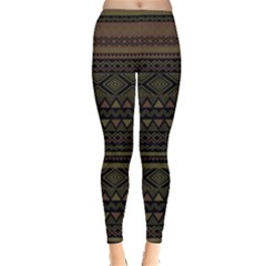 Dark Aztec Tribal Chevron Stripes Leggings by CoolDesigns