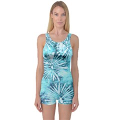 Aqua Tie Dye One Piece Boyleg Swimsuit by CoolDesigns