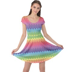Colorful Chevron Rainbow Colored Pattern Cap Sleeve Dress by CoolDesigns