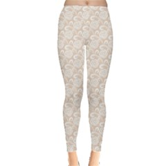 Nude White Retro Roses Lace Pattern On Beige Leggings by CoolDesigns