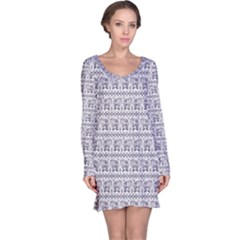 Purple Ethnic Vintage Elephant Business Long Sleeve Nightdress by CoolDesigns