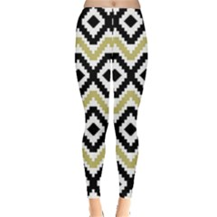 Olive Aztec Tribal Chevron Stripes Leggings by CoolDesigns