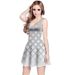 White & Gray Gradient With Black Rhombuses Sleeveless Skater Dress by CoolDesigns