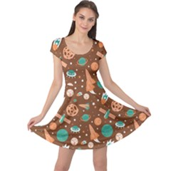 Brown Pattern With Planets Ships And Stars In Vintage Flat Style Cap Sleeve Dress by CoolDesigns